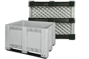 Skrzyniopaleta plastikowa Euro-Box na 3 płozach