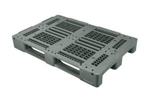 Dystrybucyjna paleta szczelinowa 1A HDPE z krawędziami 1200×800 mm na 3 płozach